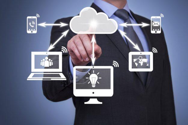 technology development man push buttono on cloud system